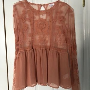 Salmon lace blouse. Never worn.